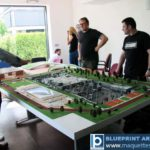 Maquettes d'exposition complexe sportif