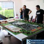 Maquettes d'exposition complexe sportif