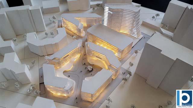Maquettes immeubles de bureaux