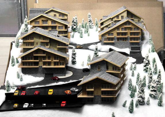 Maquettes châlets dans les Alpes, La Tzoumaz, Suisse